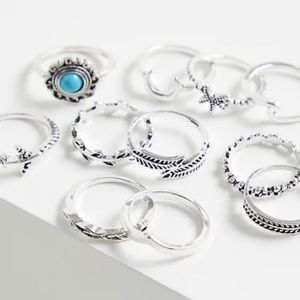 🆕 Silver-Tone Faux Turquoise Ring Set of 11